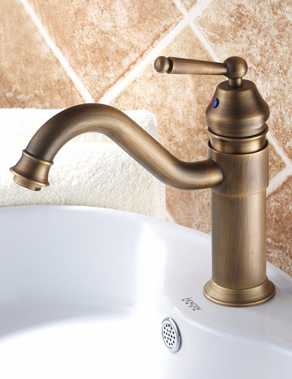 Hlluya Professional Sink Mixer Tap Kitchen Faucet Antique-brass faucet basin wash basin mixer cool retro faucet single hole Faucet