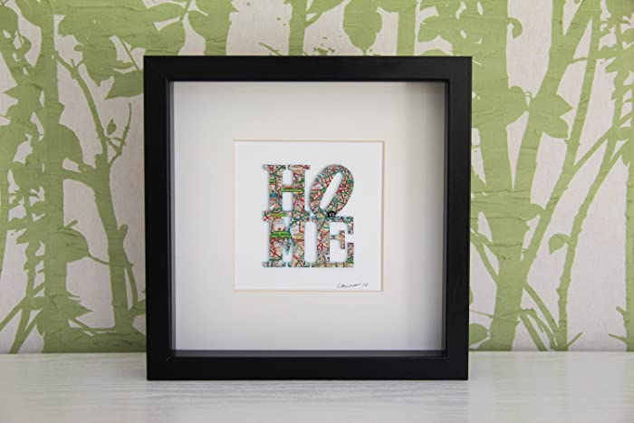 Personalised HOME Map Picture | Framed Map HOME design. Any Location ...