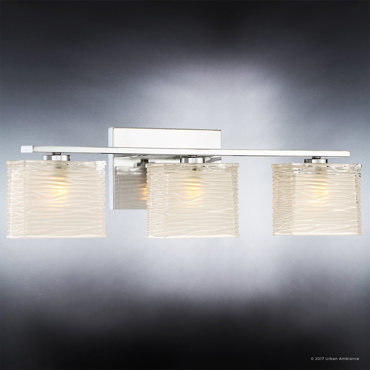 Luxury Modern Bathroom Light, Medium Size: 6.75''H x 22.5''W, with Style Elements, Polished Chrome Finish and Sandblasted Inner, Clear Wavy Outer Glass, G9 LED Technology, UQL2723 by Urban Ambiance by Urban Ambiance (Image #3)