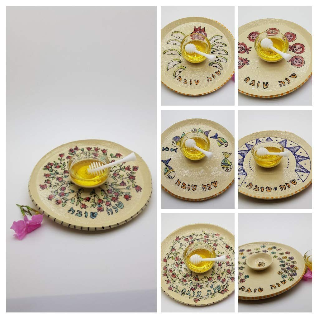 Pottery Tray Platter Artisan Home and Table Decor Made In Israel Ceramic Plate Rosh Hashana Serving Dish with Apple and Pomegranate Decorations Handmade of Clay