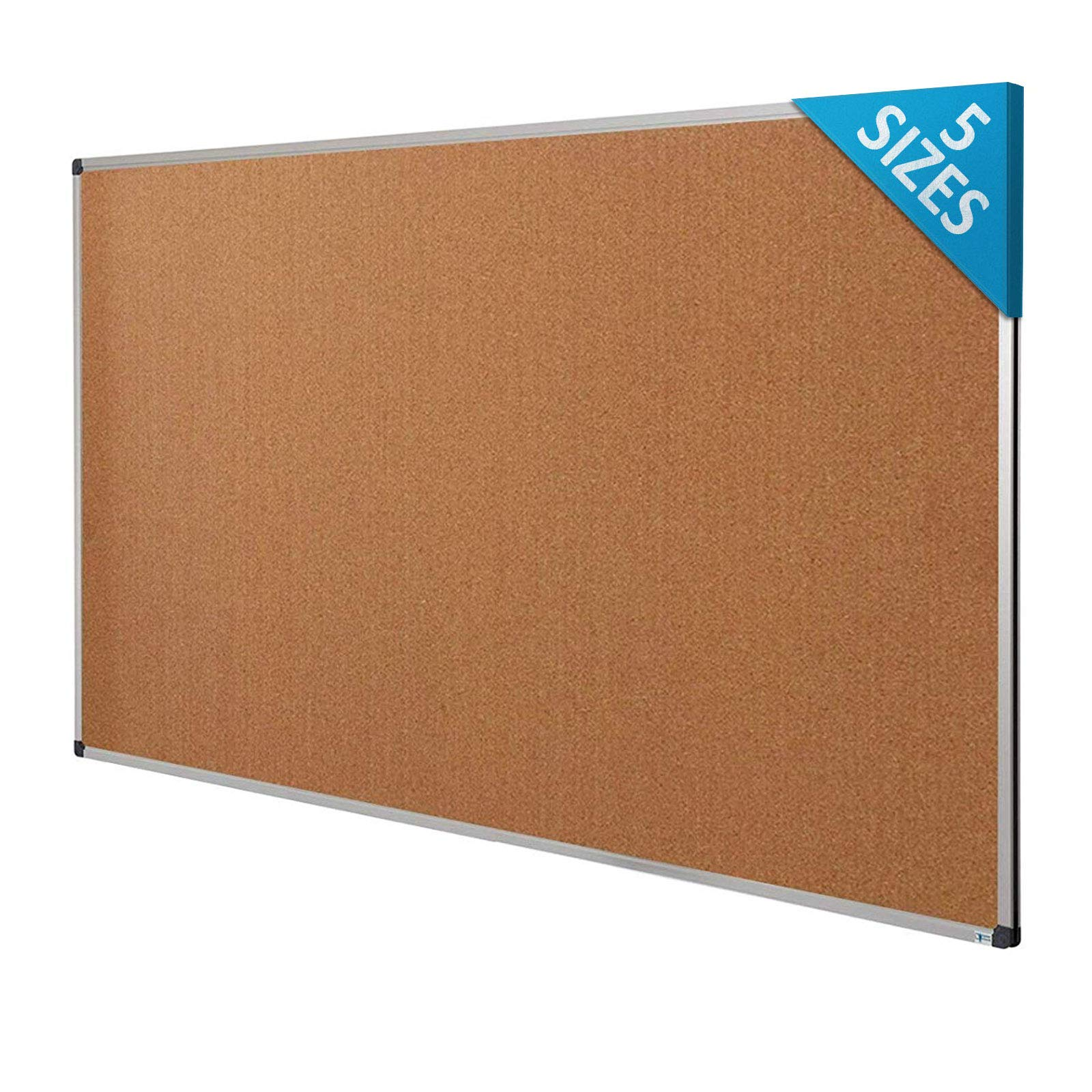 Cork Notice Pin Board | Aluminum Framed Memo Board for Office and Home Use | 5 Sizes Available - 36'' x 48''