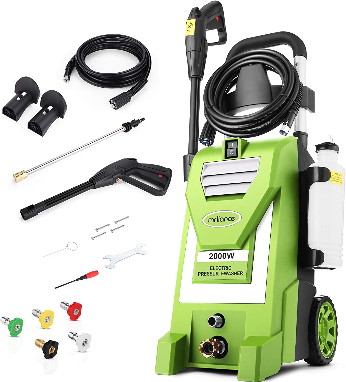 Mrliance 3800PSI Electric Pressure Washer ,3.0GPM Electric Power Washer with 5 Nozzles, 2000W High Pressure Washer Perfect for Cleaning Cars Houses Driveways Fences Patios Garden (Green)