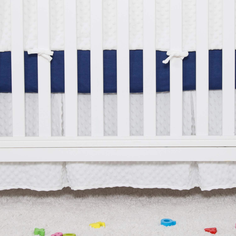 TILLYOU Luxury Minky Dot Crib Skirt Pleated, Luscious Thick Velvet Feeling, Nursery Crib Toddler Bedding Skirt for Baby Boys and Girls, 14'' Drop Cream
