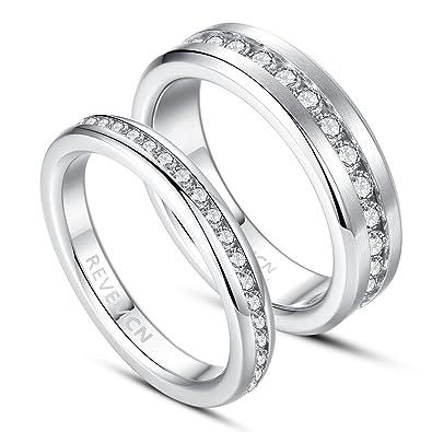 0e8bb86051 REVEMCN 3MM 6MM Stainless Steel Eternity Couple Wedding Band Ring for Men  Women with Cubic Zirconia