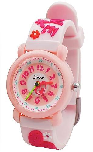 JNEW - Reloj de Cuarzo Princesa para Niñas con Dibujo de Corazón Divertido Estilo Dulce Reloj Infantil Impermeable para Estudiante con Caja de Regalo ...