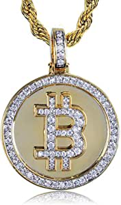 JAJAFOOK Iced Out CZ Simulated Diamond 14K Gold Plated Bitcoin Cryptocurrency Pendant Necklace with Rope Chain