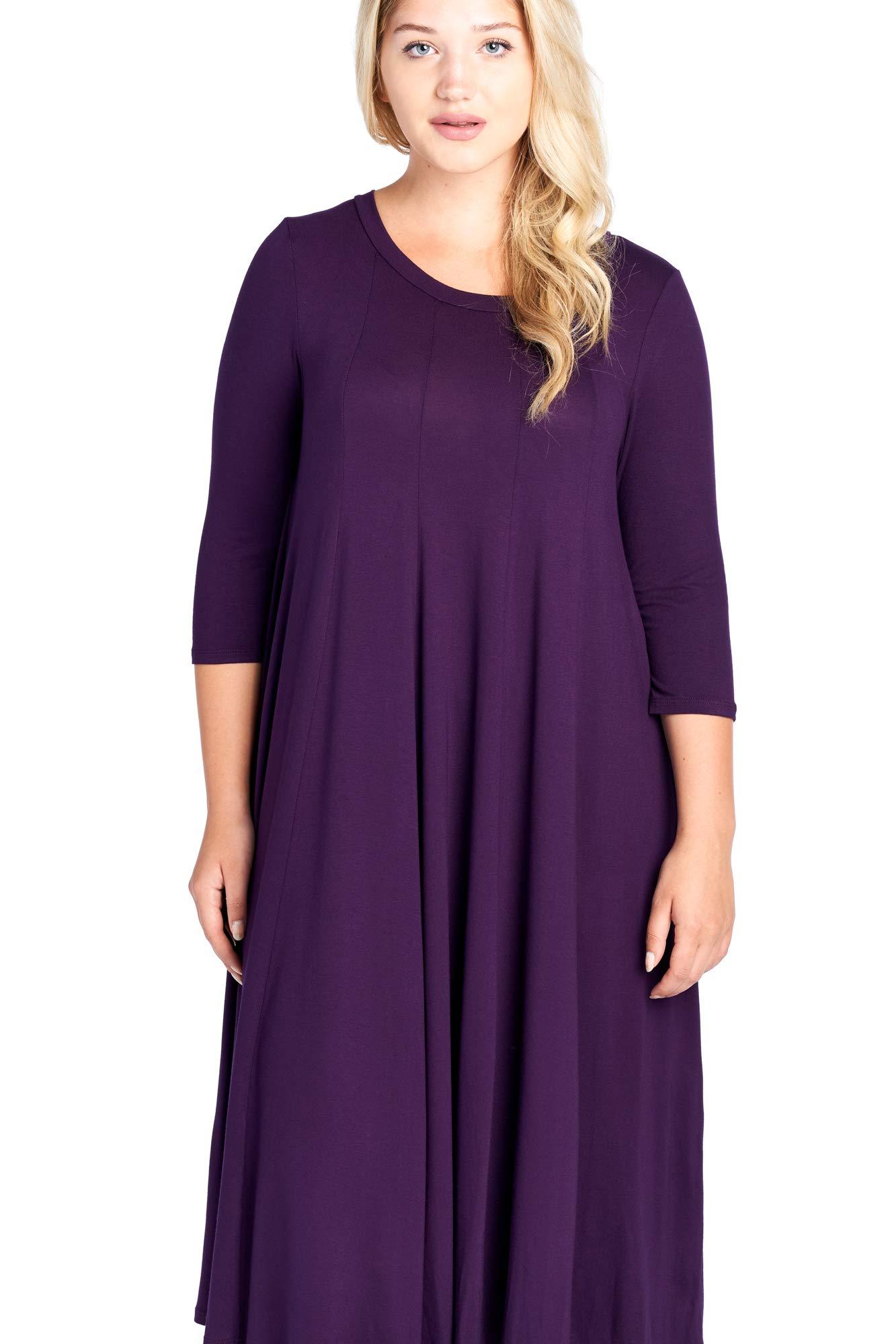 Modern Kiwi Long Sleeve Flowy Maxi Plus Size Dress Dark Purple 1X ...