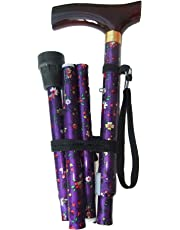 Amazing Health  Flower Folding Walking Stick Height Adjustable with FREE wrist strap and spare ferrule (Purple)