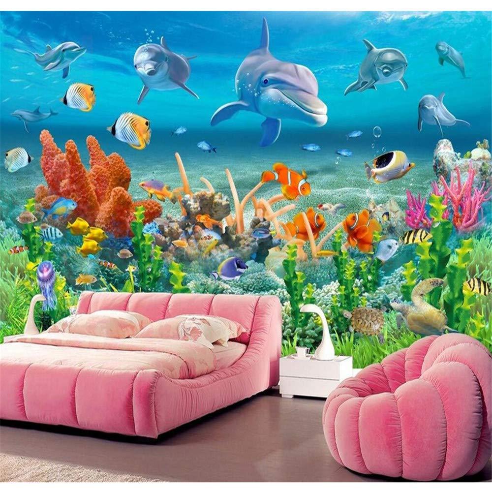 Wuyyii  Große Benutzerdefinierte Tapete Unterwasserwelt Delphin Korallenriff Seeansicht Seeansicht Seeansicht Kinderzimmer Tv Wandbilder 3D Wallpaper-150X120CM B07NZ57MG7 Wandtattoos & Wandbilder 09ab47