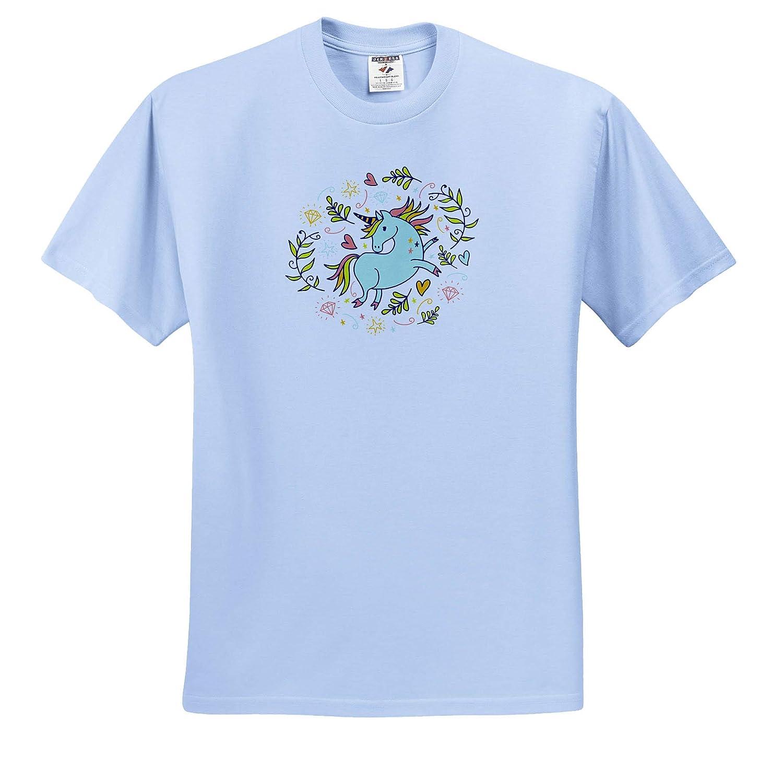 ts/_314201 Adult T-Shirt XL 3dRose Cassie Peters Unicorns Unicorn in Pastel Colors