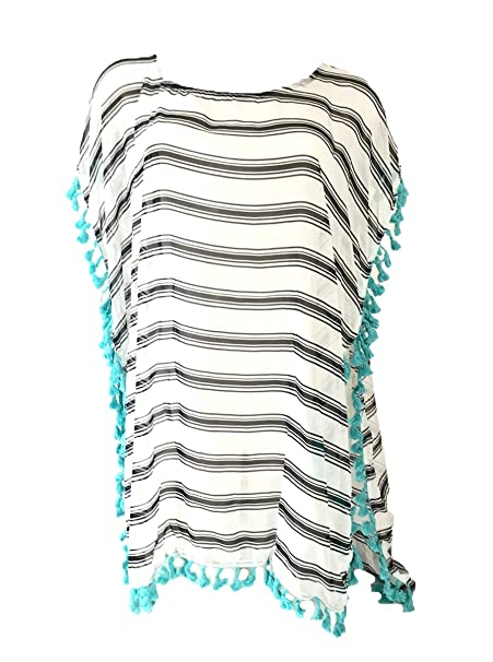 31af296225a10 Image Unavailable. Image not available for. Color  Blue Island Striped Caftan  Swim Cover ...