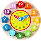 Wondertoys Wooden Shape Sorting Clock Educational Toy for Kids