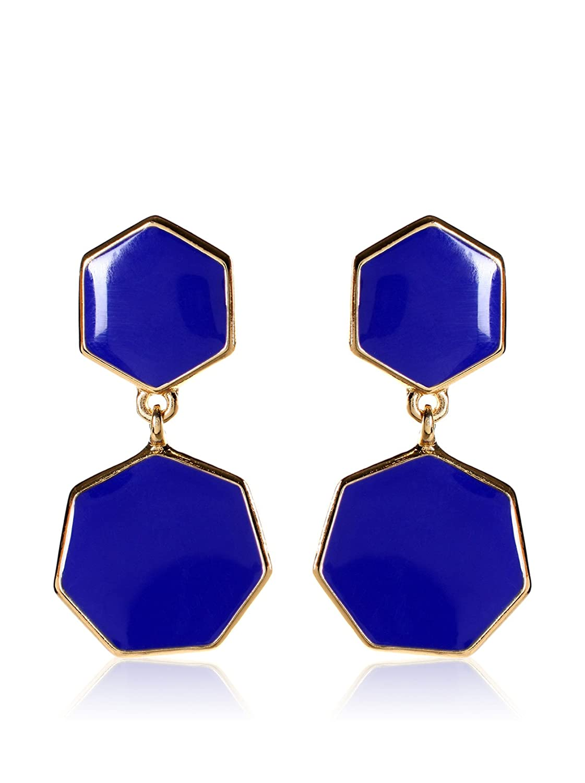 Amrita Singh Enamel Hexagon Earring Blue