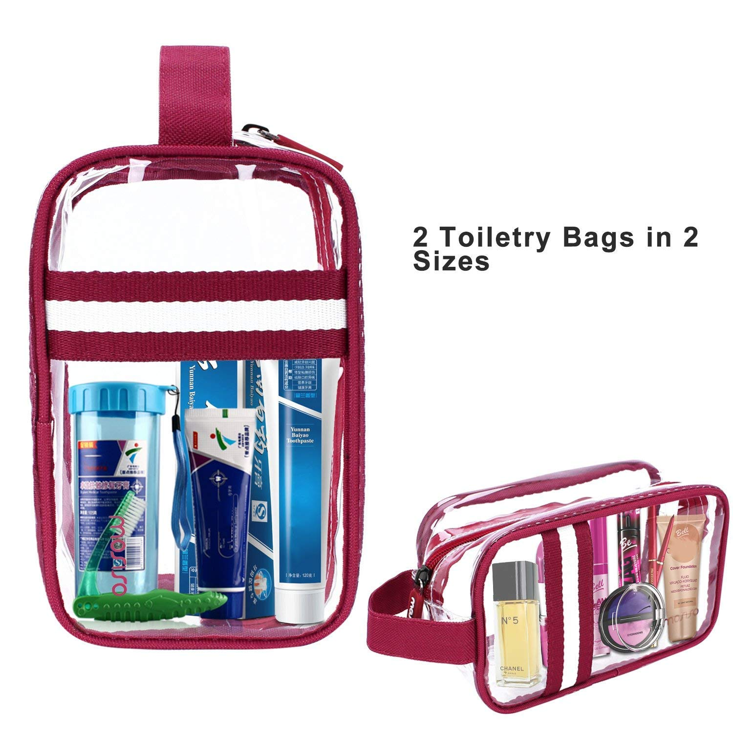 MOSISO 2 Pack 2 Size Clear Toiletry Bag TSA Approved PVC Waterproof Zippered Cosmetic Makeup Storage Organizer Sundries Pouch with Hanging Handle for Men Women, Travel and Household, Clear Wine Red