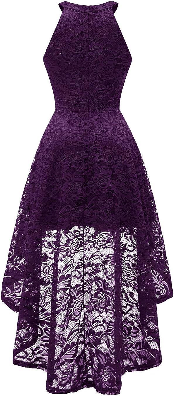 Berylove Hi-Lo Vestido De Nochel C/óctel Elegante Halter Mujer Flor Encaje Vestidos De Fiesta
