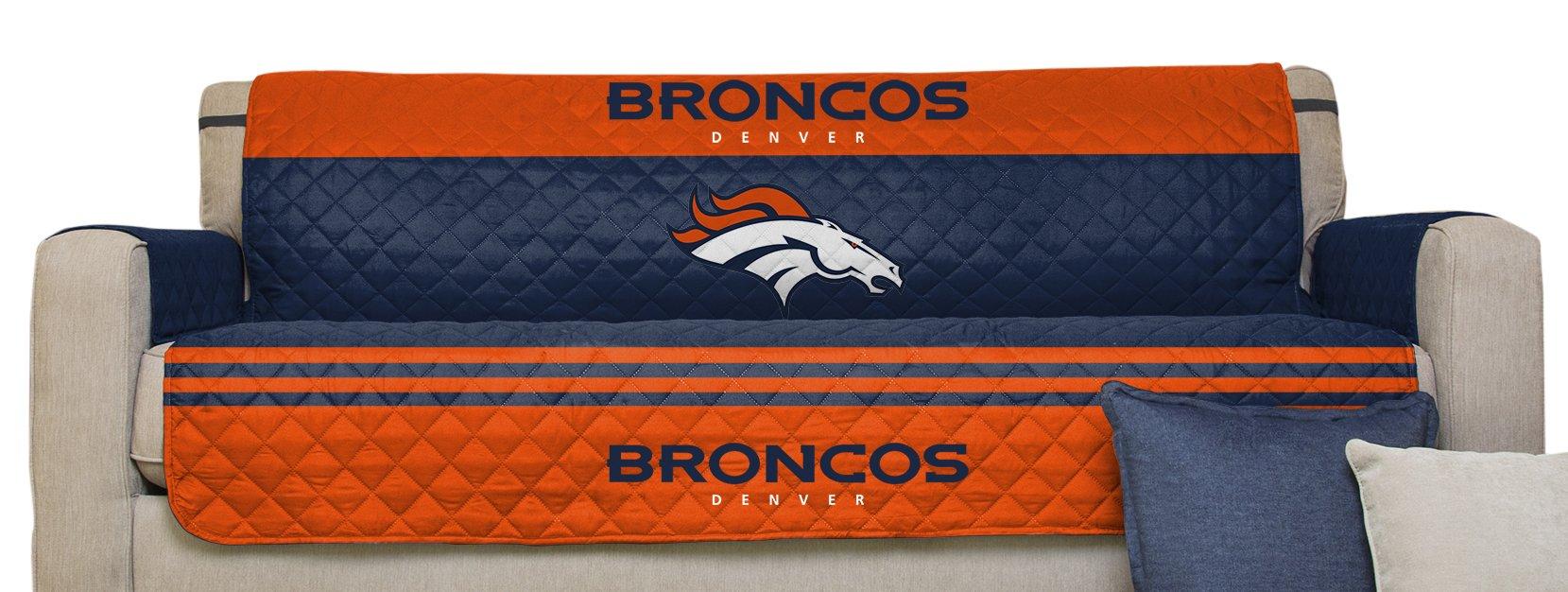 Pegasus Home Fashions NFL Denver Broncos Sofa Furniture Protector with Elastic Straps, 75 x 110