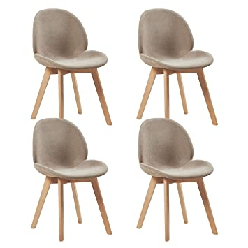 EGGREE Scandinave Lot De 4 Chaises Salle A Manger En Lin Chaise Salon Design