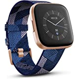 Fitbit FB507RGNV-FRCJK Versa 2 Special Edition Premium Health and Fitness Smartwatch, Navy and Pink Woven/Pale Copper Rose