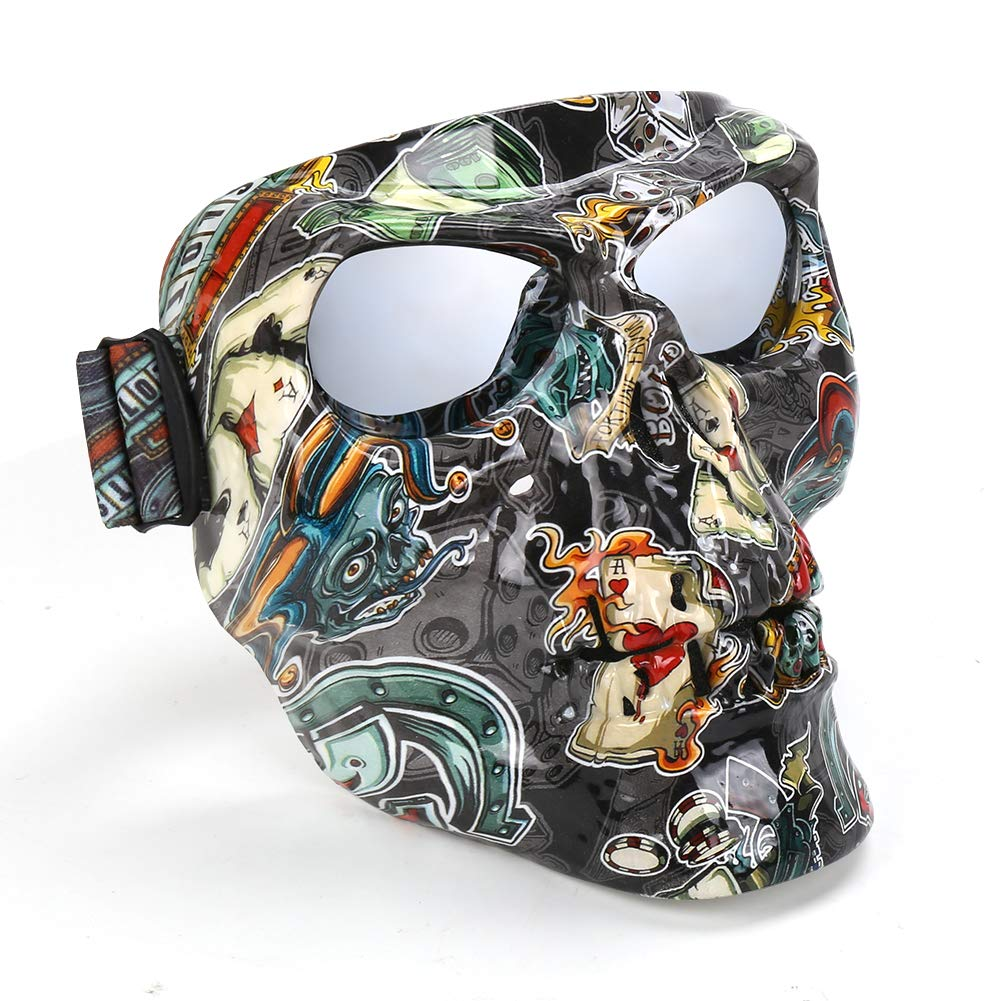 Cool Helmet Glasses Windproof Airsoft Safety Goggles Mask Freehawk Motorcycle Goggles Mask Detachable Road Riding UV Motorbike Glasses with Dustproof Mask
