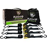 """RHINO USA Ratchet Tie Down Straps (4PK) - 1,823lb Guaranteed Max Break Strength, Includes (4) Premium 1"""" x 15' Rachet Tie Downs with Padded Handles. Best for Moving, Securing Motorcycle and Cargo"""