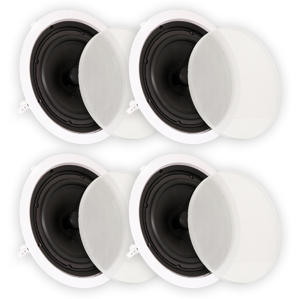 Theater Solutions TS80C In Ceiling 8'' Speakers Surround Sound Home Theater 2 Pair Pack by Theater Solutions