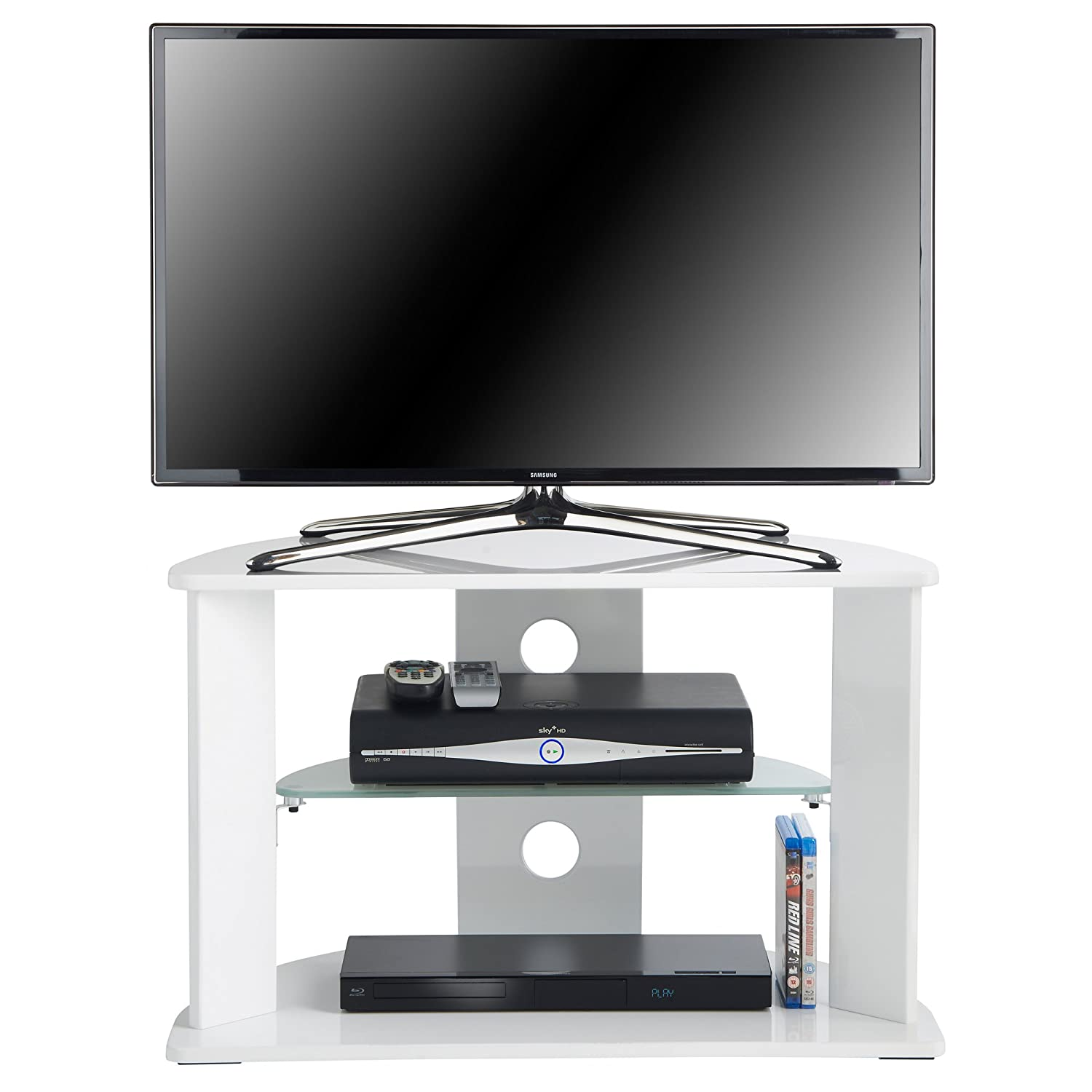 Vonhaus White Tv Stand For Flat Screens Wood And Glass Amazon Co  # But Meuble Tv Led