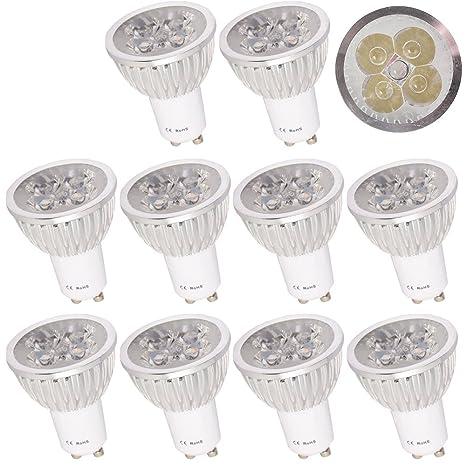 10 x GU10 4 W bombillas LED blanco cálido 2800 – 3200 K (85 –