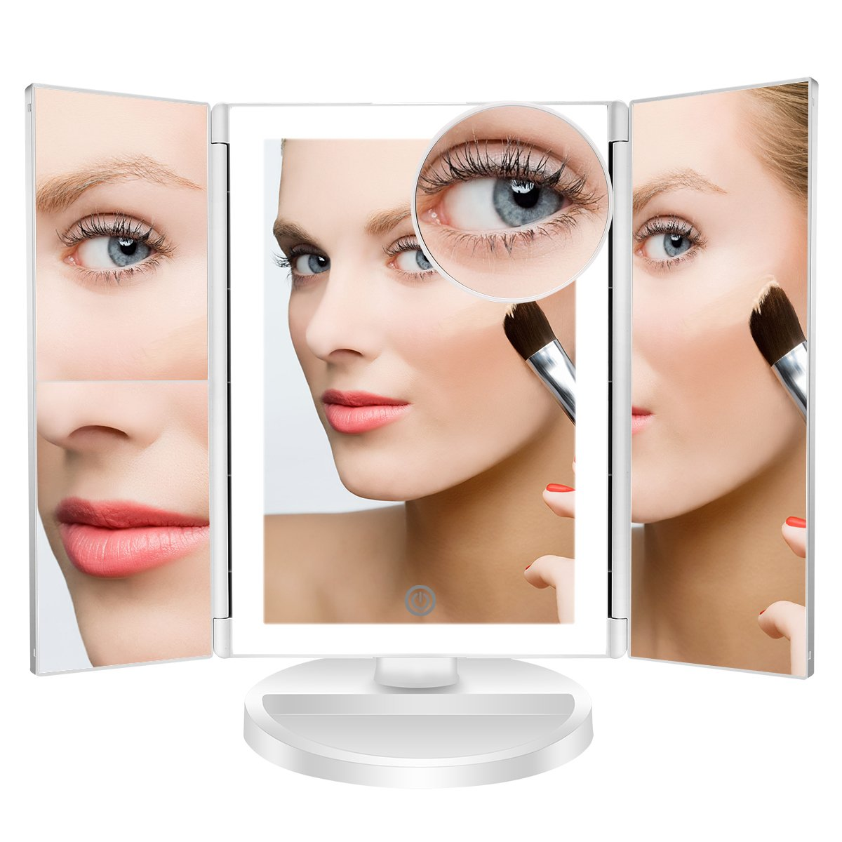 Vanity Mirror,Livememory Lighted Vanity Makeup Mirror with 36 LED Lights for Women,10X 3X 2X 1X Magnification Mirror,Electric Dual Power Supply, Portable Clarity Magnifying Mirror