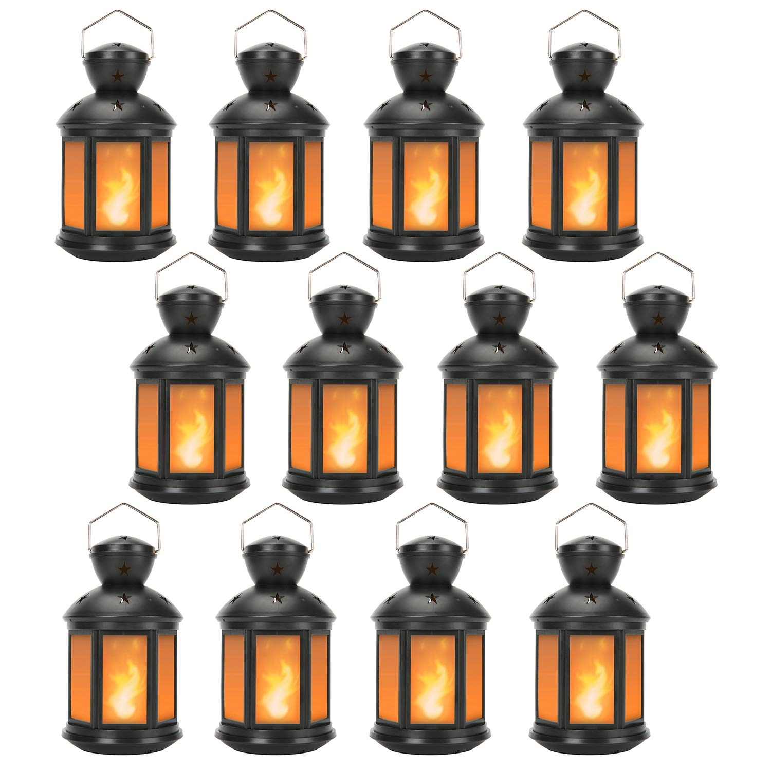 Decorative Lanterns Battery Powered LED, with 6 Hours Timer,Indoor/Outdoor,Lanterns Decorative for Wedding,Parties,Black-12pcs