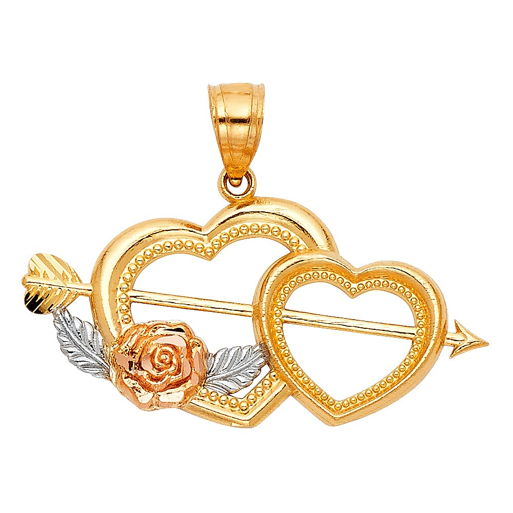 14k White And Yellow Gold Cupid Arrow Double Heart Pendant Charm
