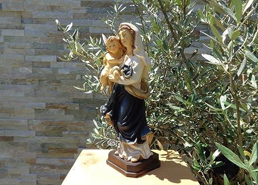 36 - 38 cm árbol - Santa María, pintadas a mano y barnizadas - gran madre de Dios con niño Jesús, con natural artificial, vestido azul/abrigo, como Madonna ...