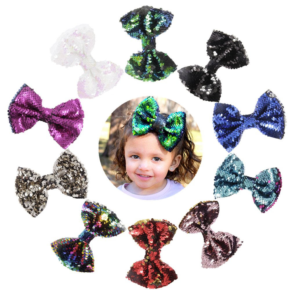 Nishine 5'' Baby Girls Two Toned Reversible Sparkle Sequin Bow on Clips Mermaid Flip Bows Birthday Gift
