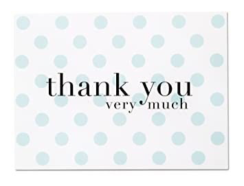 Baby Shower Thank You Cards For Baby Boy   36 Blue Polka Dot Blank Note  Cards