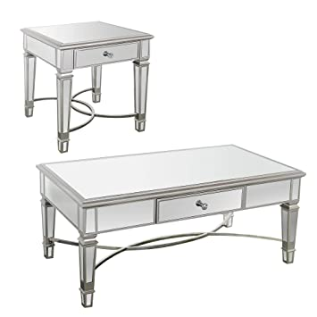 Overstock Furniture Silver Mirrored Accent Table Sets   Coffee Table, End  Table, And Sofa