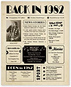 Back in 1982 Poster Newspaper Unframed 8x10 // 38th Birthday Gifts for Women, Men - Gift Ideas for 38 Year Old Man, Woman Under 10 Dollars - Birthday Decorations Vintage for Mom, Dad, Wife, Husband