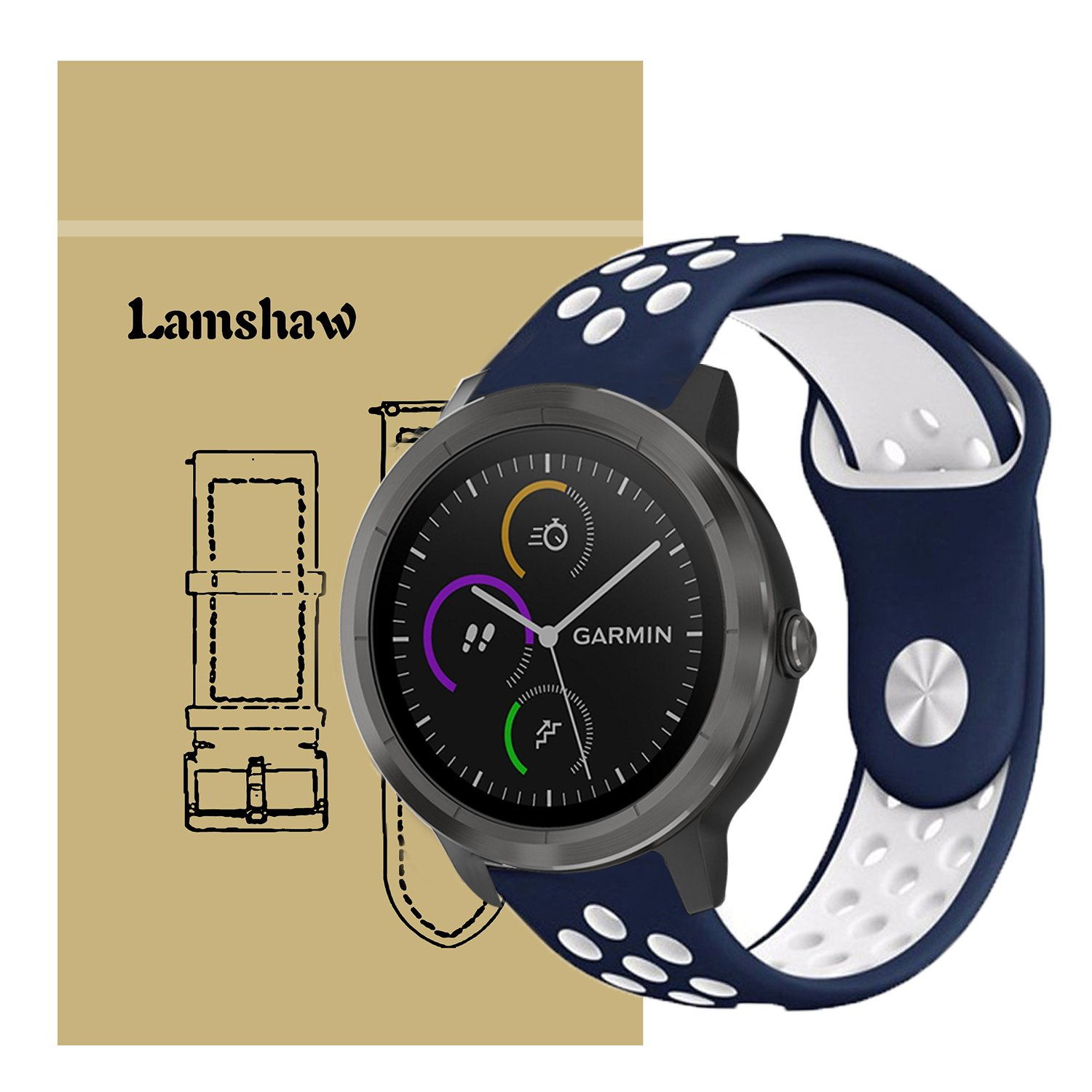 Lamshaw Smartwatch Bands for Garmin Vivomove HR,Sport Silicone Replacement Strap for Garmin Vivomove HR/Garmin Vivoactive 3 Band (Blue+White)