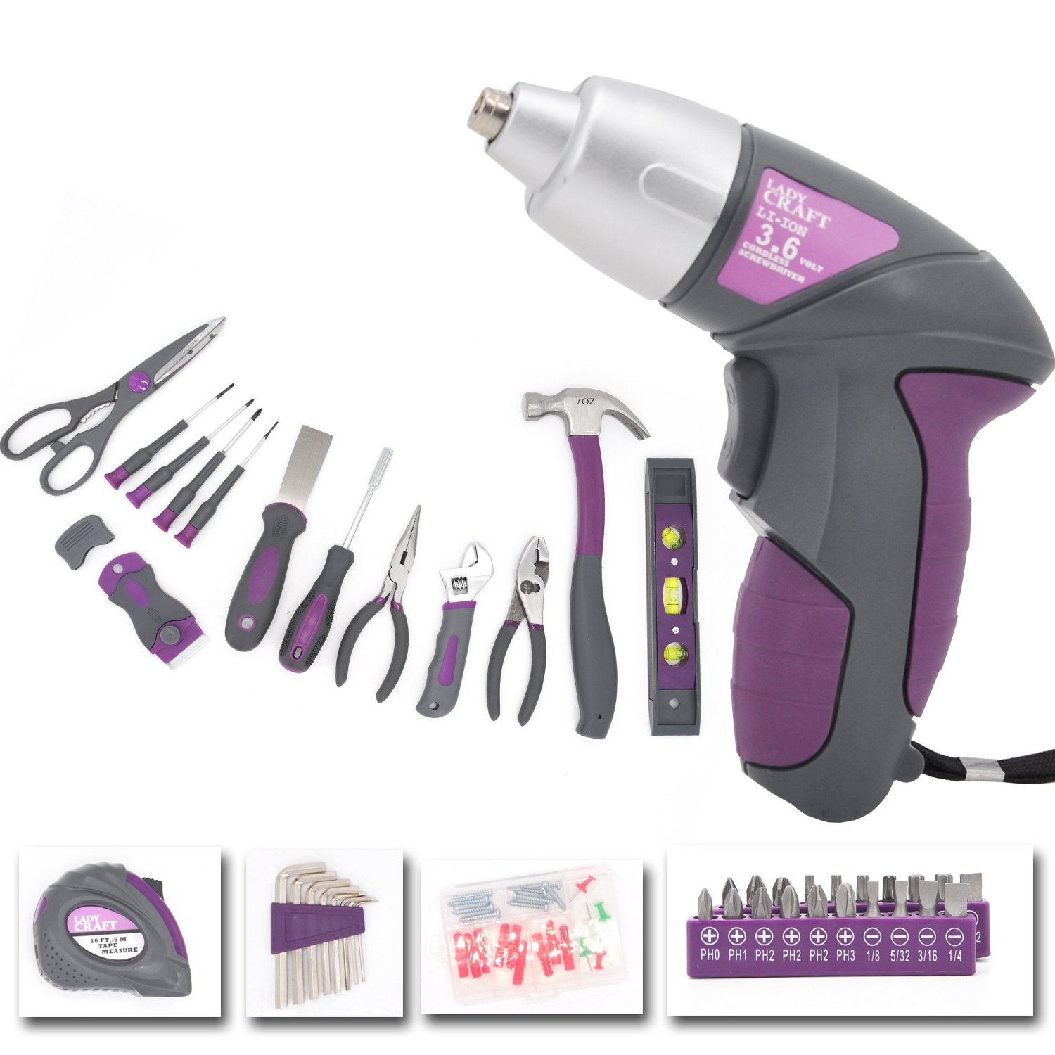Lady Craft 44-Piece Home Repair Tool Kit with Ergonomic Handles, Mauve Li-ion Screwdriver