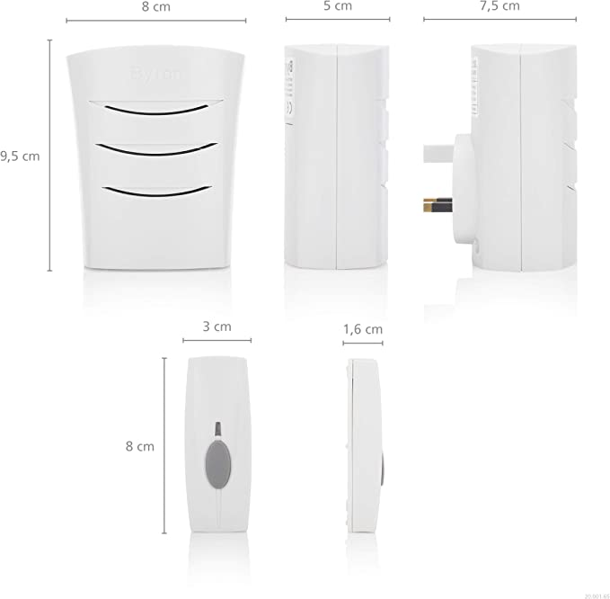 Byron Sentry BY102 60m Wireless Plug-in Door Chime Kit with 4 Sounds