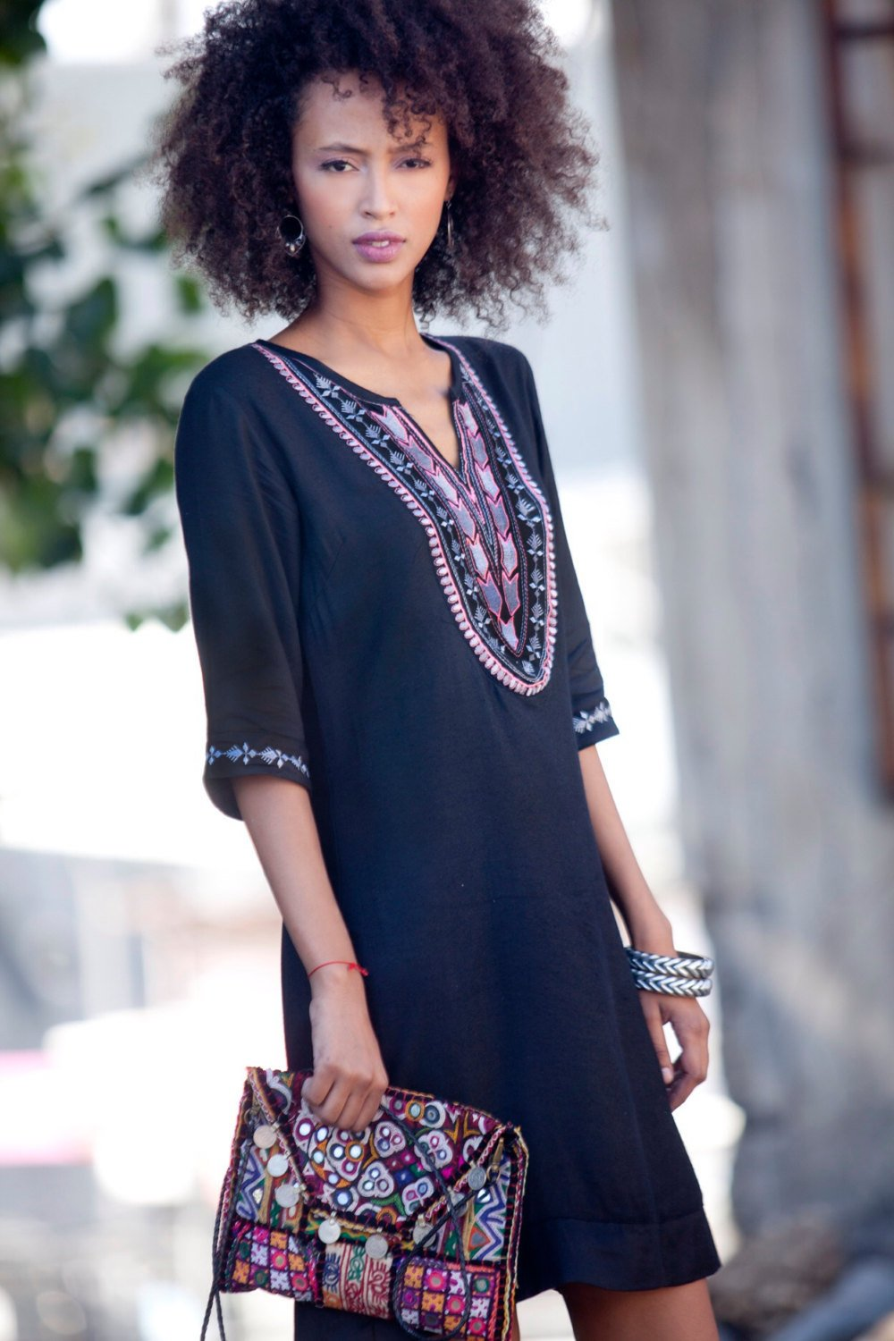 Black Tunic dress, Caftan Dress with sleeves, Boho Ethnic Embroidery Dress, Bohemian Moroccan inspired Dress