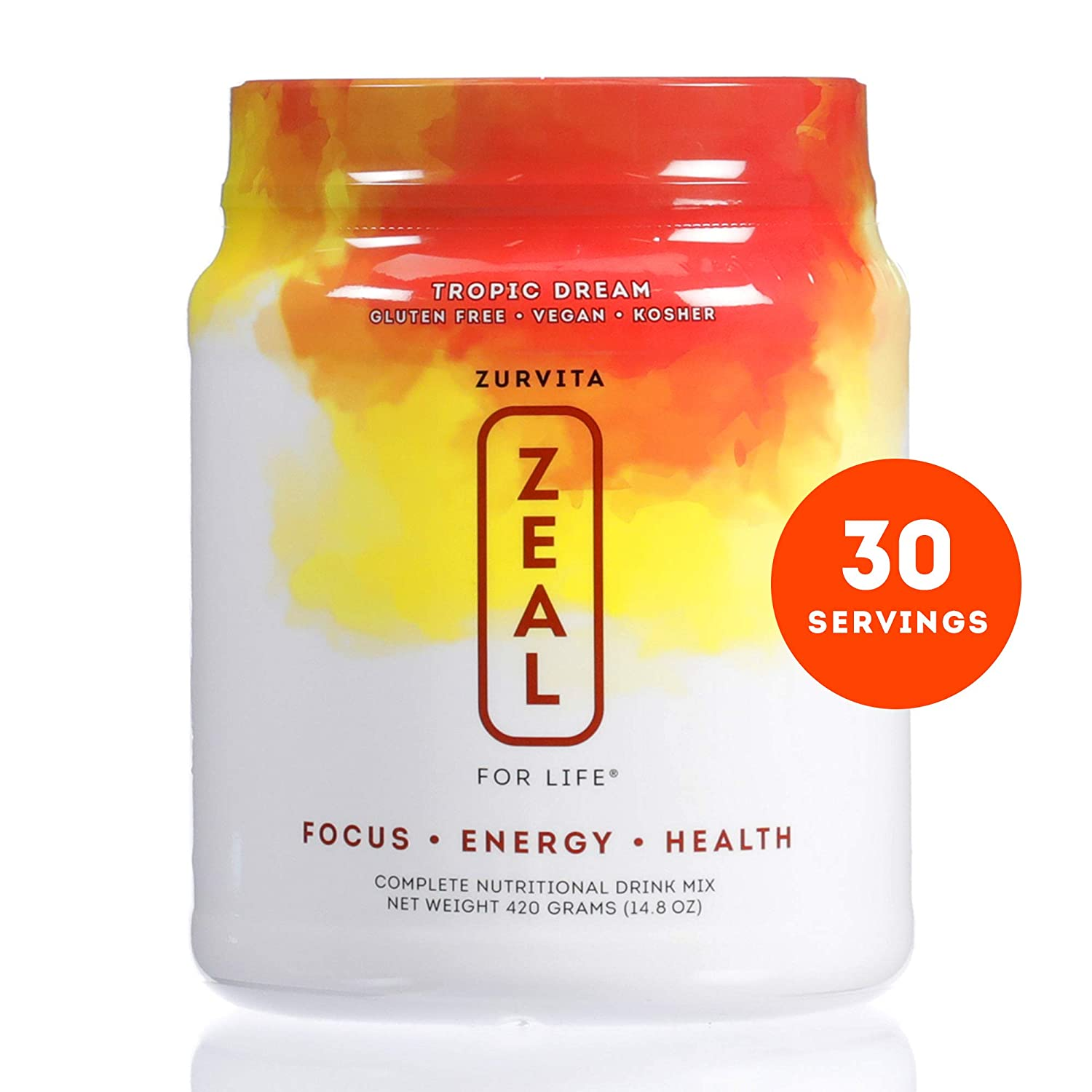 Zurvita Zeal for Life 30 Day Wellness Canister, Tropic Dream, 420 Grams Nutritious Drink with Vitamin A, C, D, E, B6, and B12