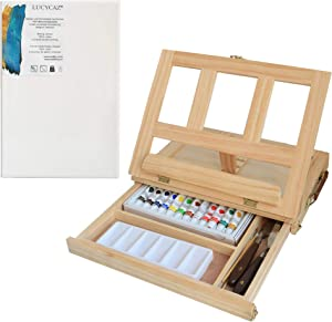 Adjustable Wood Box Desktop Easel Art Painting Supplies with Storage Drawer,Canvas Panel Boards,Paint Palette - Portable Drawer Storage Sketchpad Sketching Book Stand (Pine Wooden)
