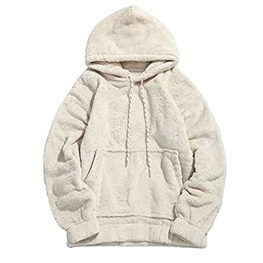 74bf6b69 Mens Winter Hooded Fuzzy Sherpa Pullover Hoodie Sweatshirts with Kangaroo  Pockets Jackets Outwear