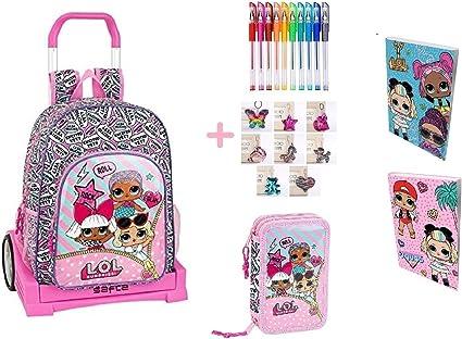 Trolley mochila escolar Lol Surprise Evolution + estuche 2 pisos cremallera completo + diario + 10 bolígrafos de colores + llavero girabrilla: Amazon.es: Oficina y papelería