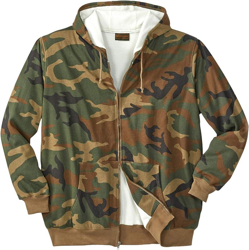 Mens Fleece Jacket Explorer Camo Print Full-Zipper Big /& Tall L XL 2XL KingSize