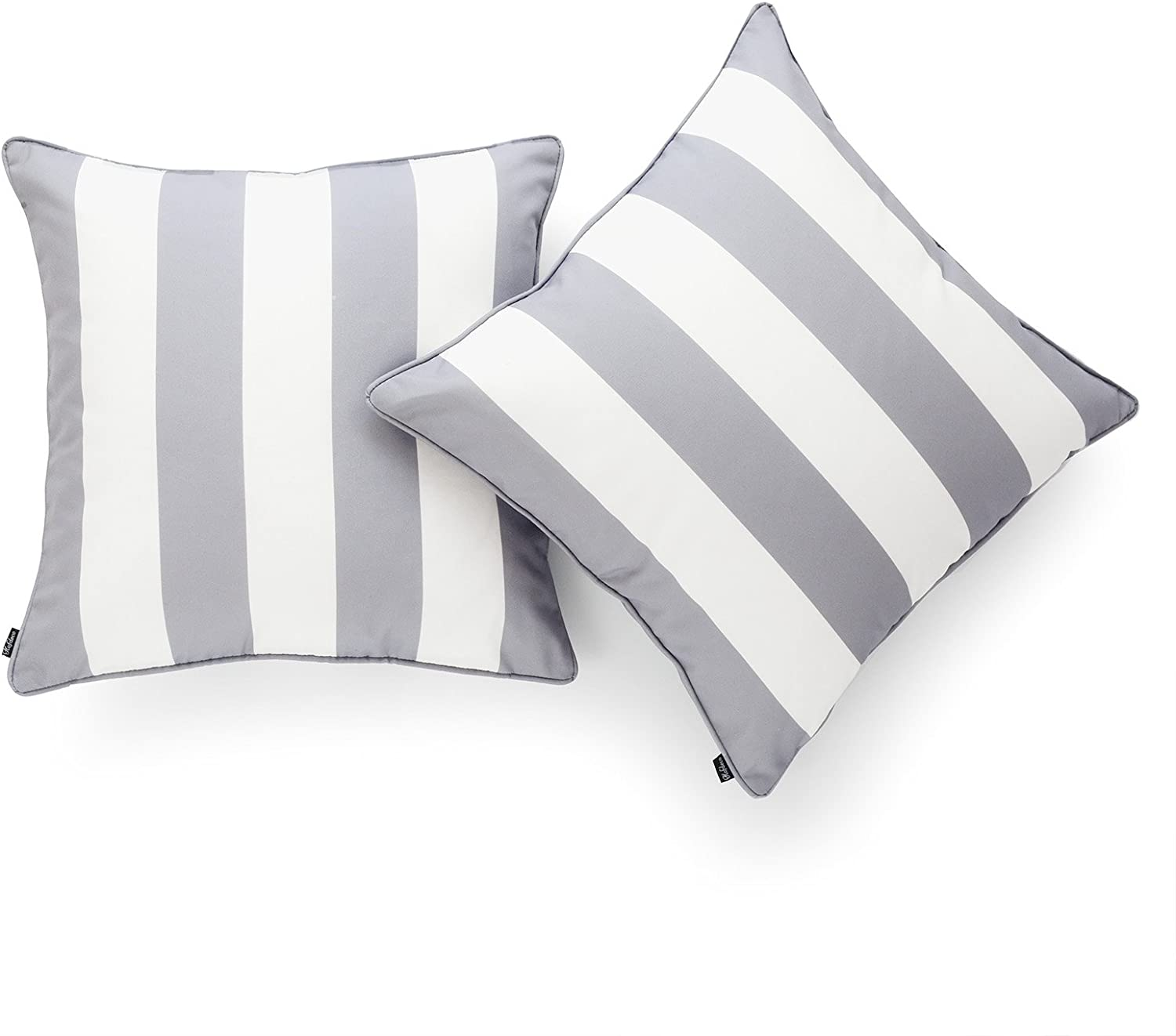 Hofdeco Indoor Outdoor Pillow Cover Only Water Resistant For Patio Lounge Sofa Gray White Stripes 18 X18 Set Of 2 Home Kitchen