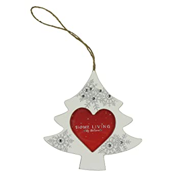Silver Wooden Photo Frame Christmas Tree Decoration With Crystals