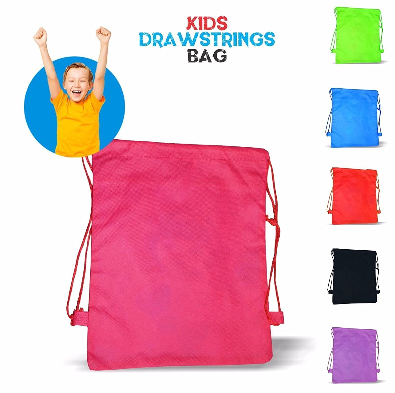 Thai Mad New Styl-Kids New Plain Bag Gym Bag Pump Bag Sports School Drawstring Boys Girls (Red)