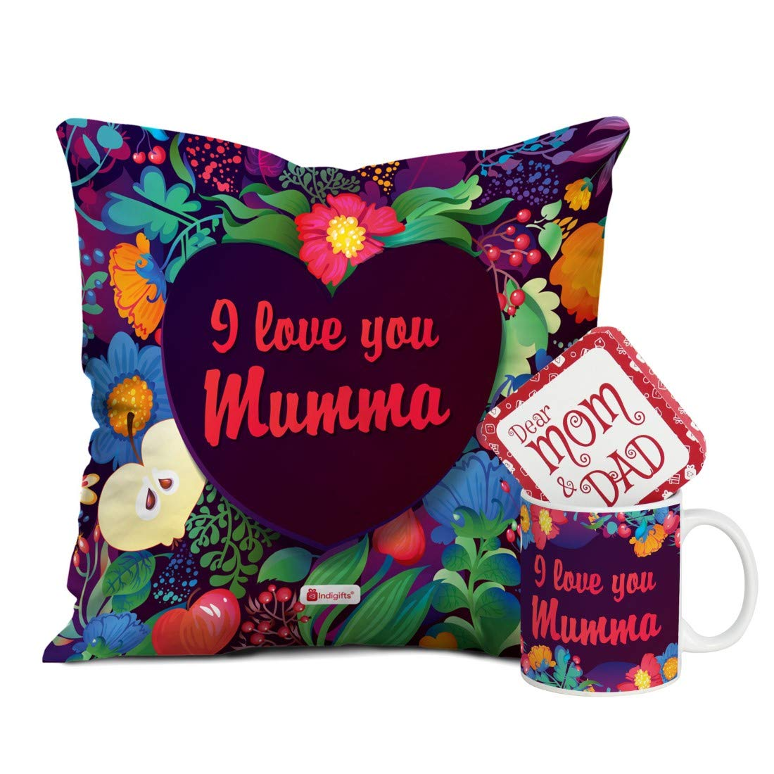 Indi ts for Mom Mothers Day Birthday Anniversary Floral I Love You Mumma Violet Printed Small Cushion 12X12 with Filler Ceramic Mug Set of 2