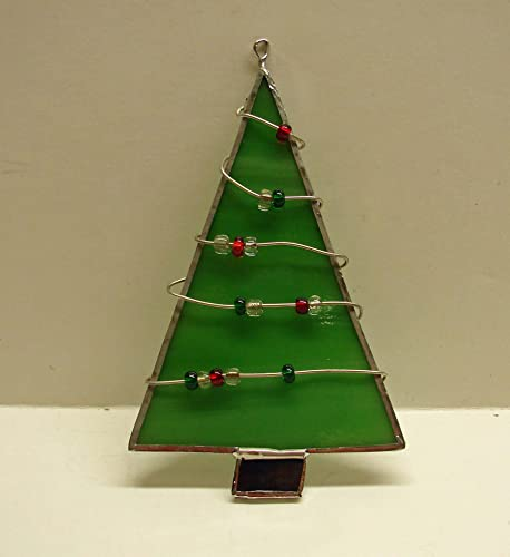 Handmade Wire and Bead Wrapped Stained Glass Christmas Tree Ornament - Amazon.com: Handmade Wire And Bead Wrapped Stained Glass Christmas