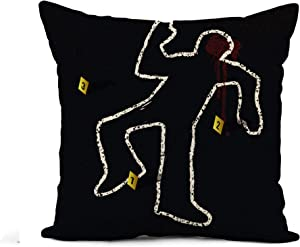 Awowee Flax Throw Pillow Cover Yellow Outline Crime Scene Body Chalk Dead Murder Man 16x16 Inches Pillowcase Home Decor Square Cotton Linen Pillow Case Cushion Cover